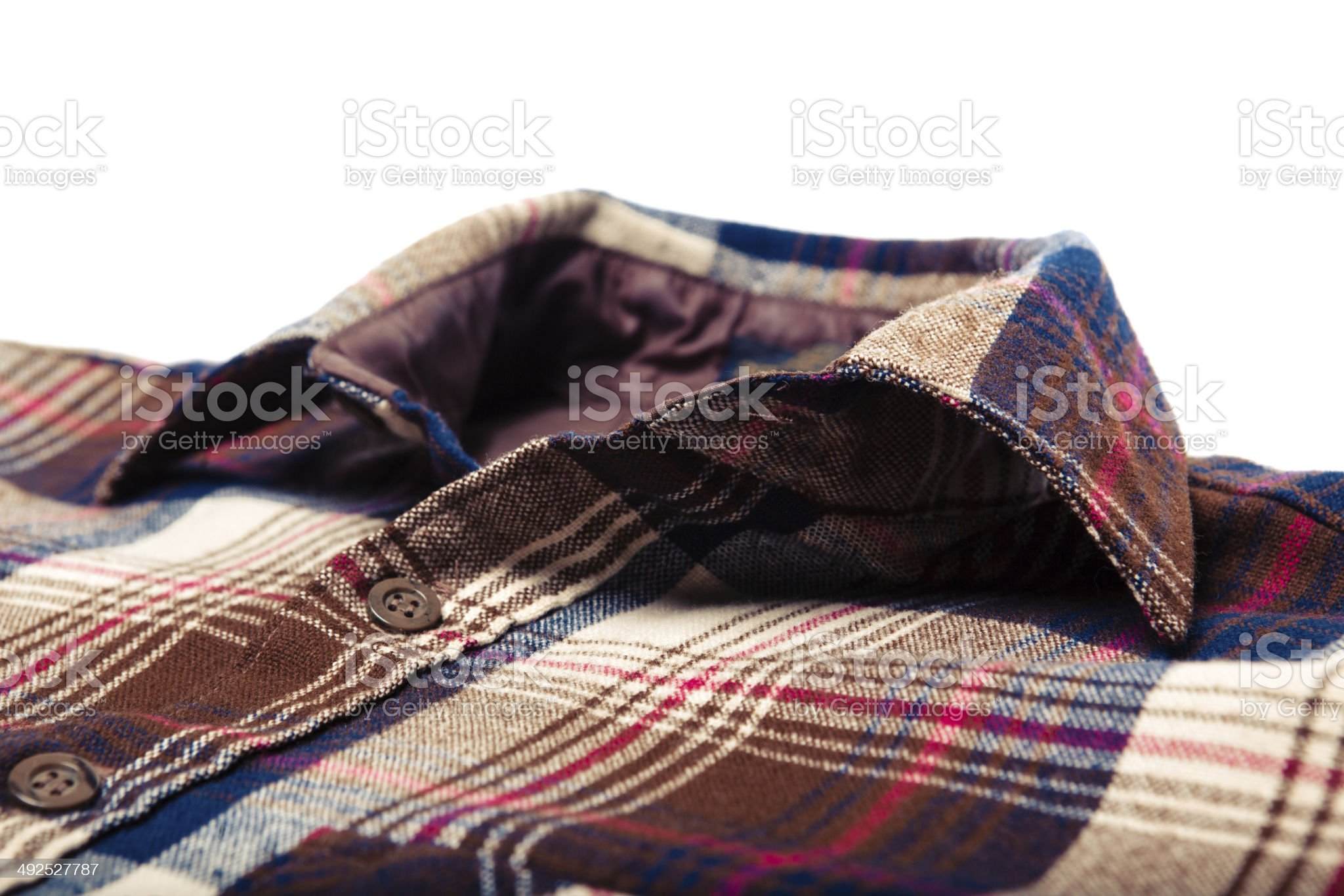 Collar Close Up All American Made Winter Button Down Shirt royalty-free stock photo