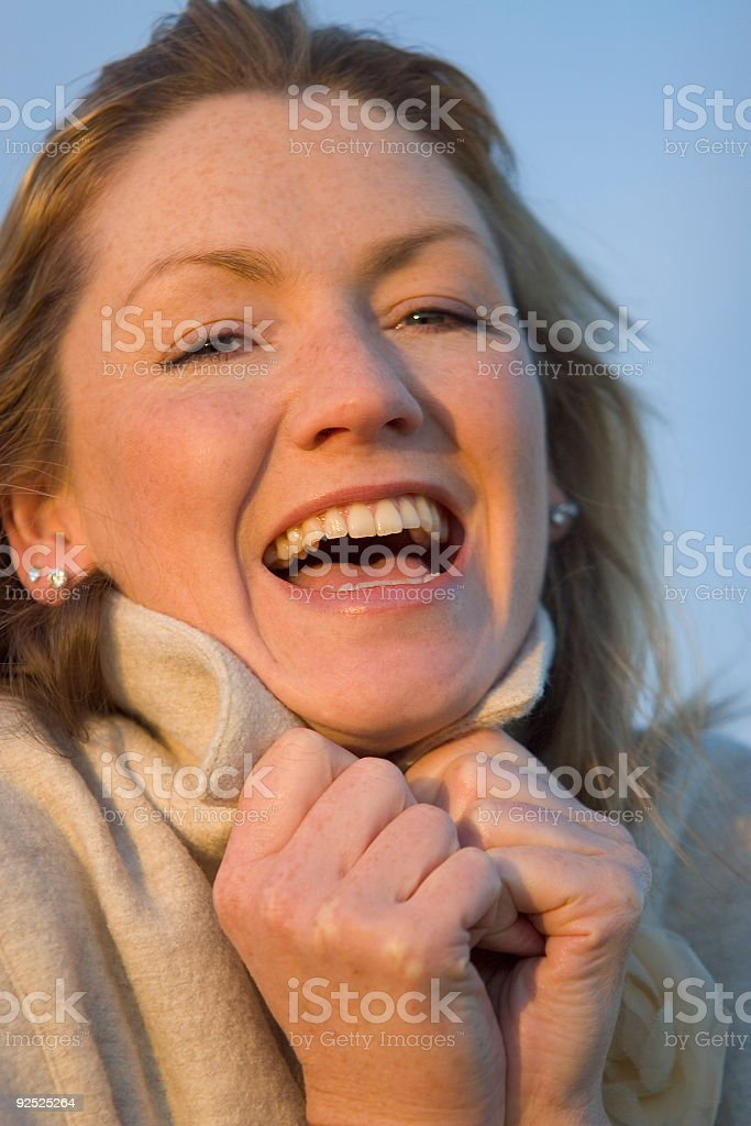 Collar Up & Laughing royalty-free stock photo