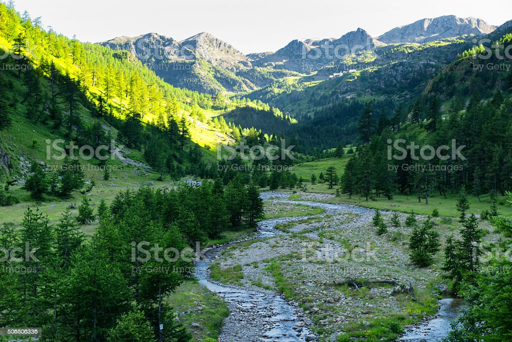 Colle della Lombarda, road in the Alps stock photo