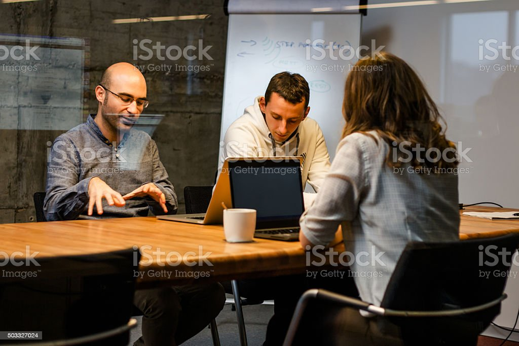 Colleagues Discussing business stock photo