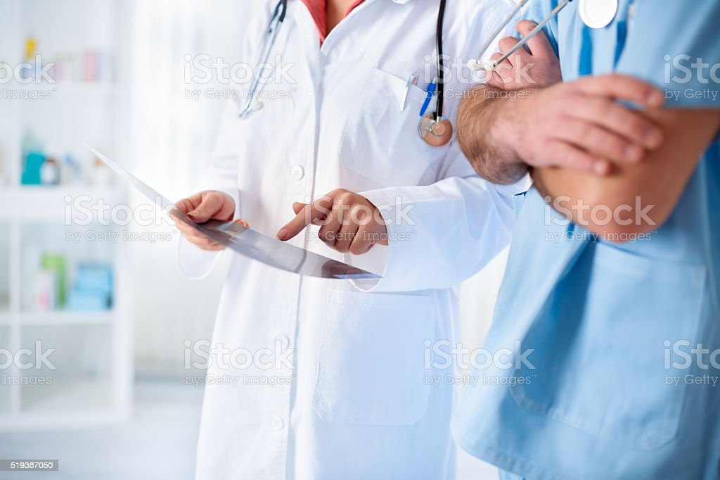 colleagues doctors on work stock photo