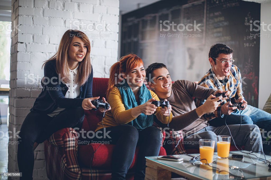 Colleagues having great time after working day stock photo