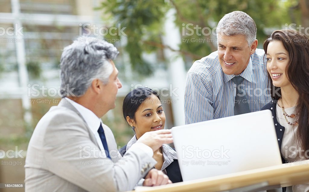 Colleagues having meeting royalty-free stock photo