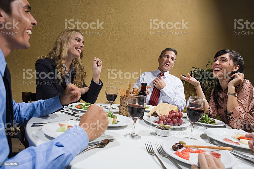 Colleagues in restaurant stock photo