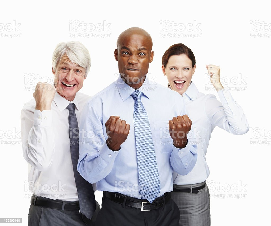 Colleagues showing support of executive in front royalty-free stock photo