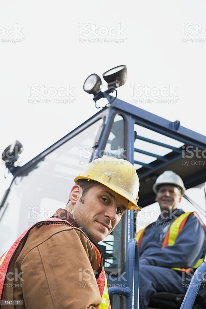 Colleagues with truck royalty-free stock photo