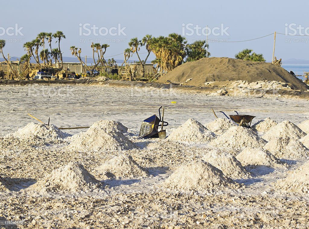 Collected salt pans at Lake Afrera stock photo