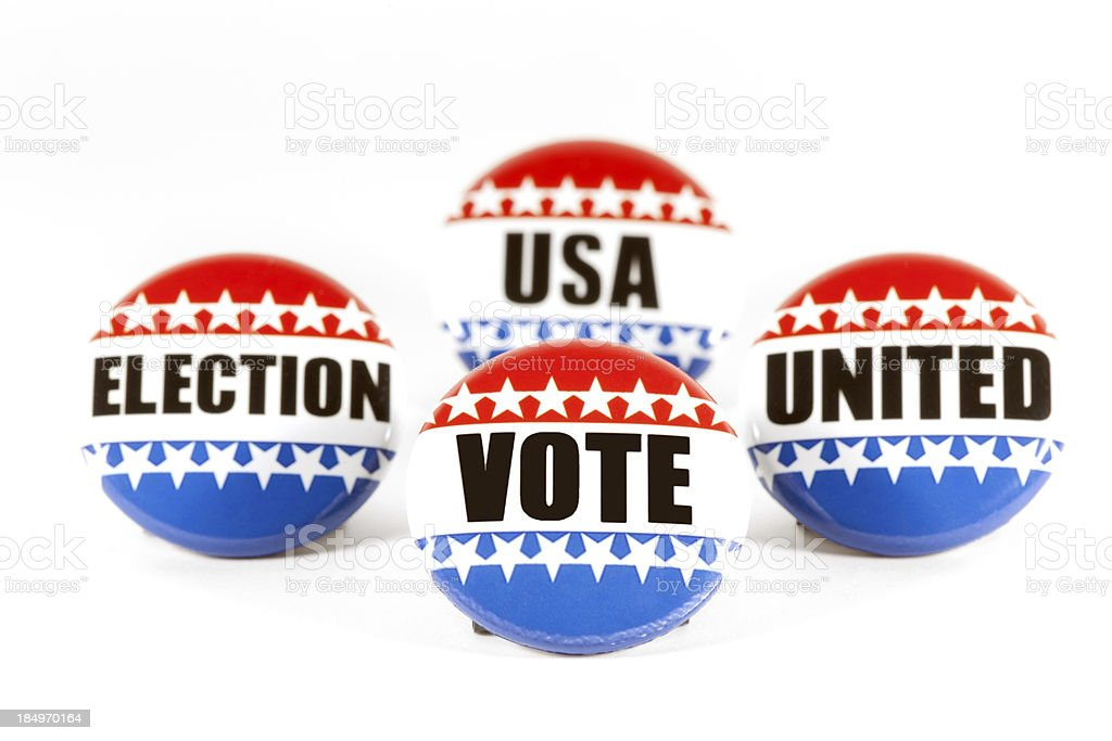 collectin of 4 election pins royalty-free stock photo
