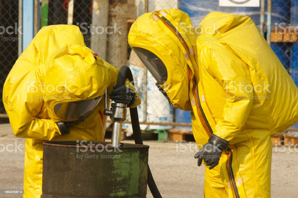 Collecting dangerous goods stock photo