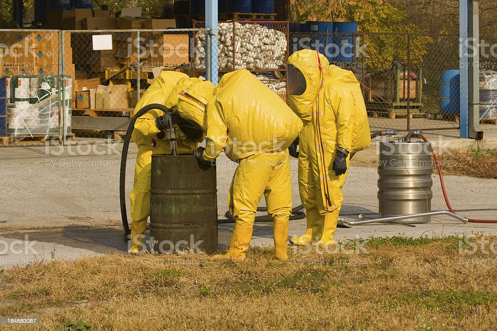 Collecting dangerous material stock photo