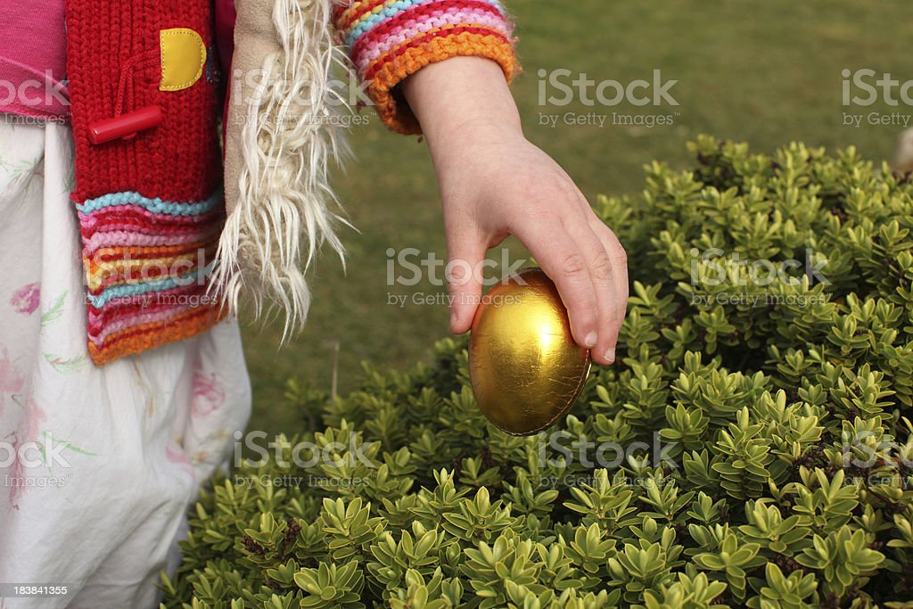 collecting eggs at easter landscape stock photo