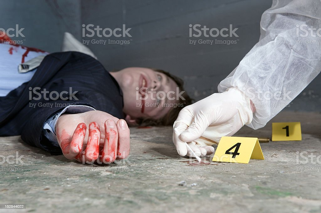 Collecting evidence stock photo