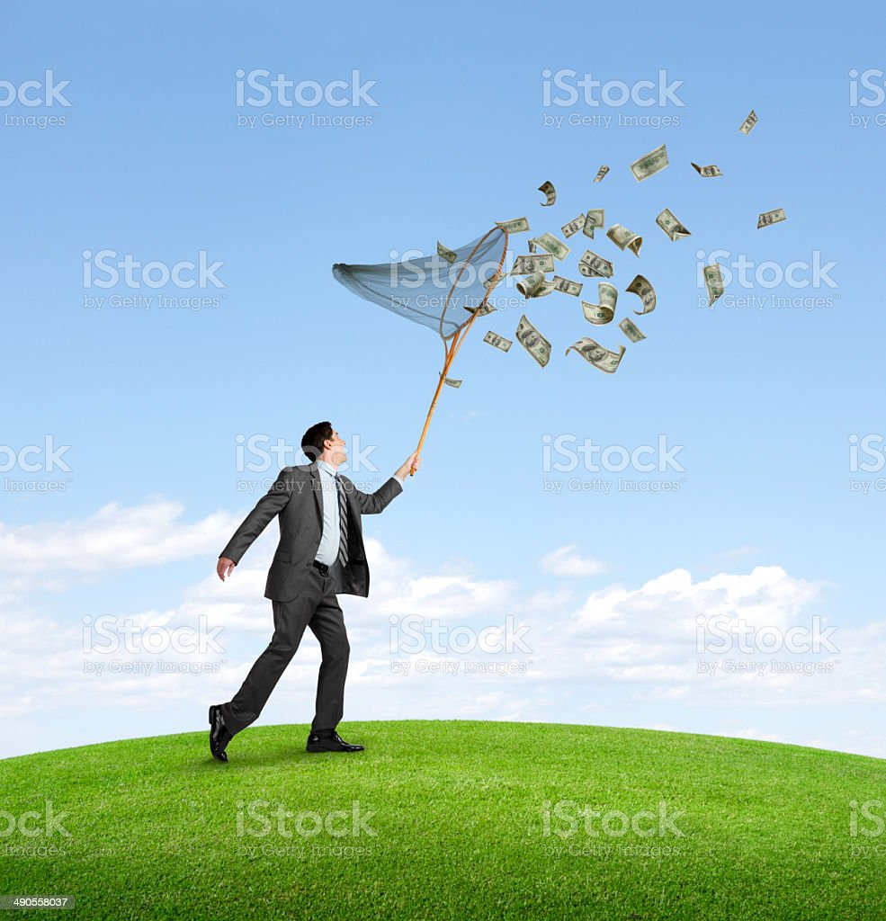 Collecting Money stock photo