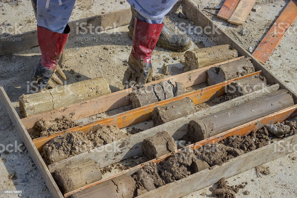 collecting soil samples 3 stock photo