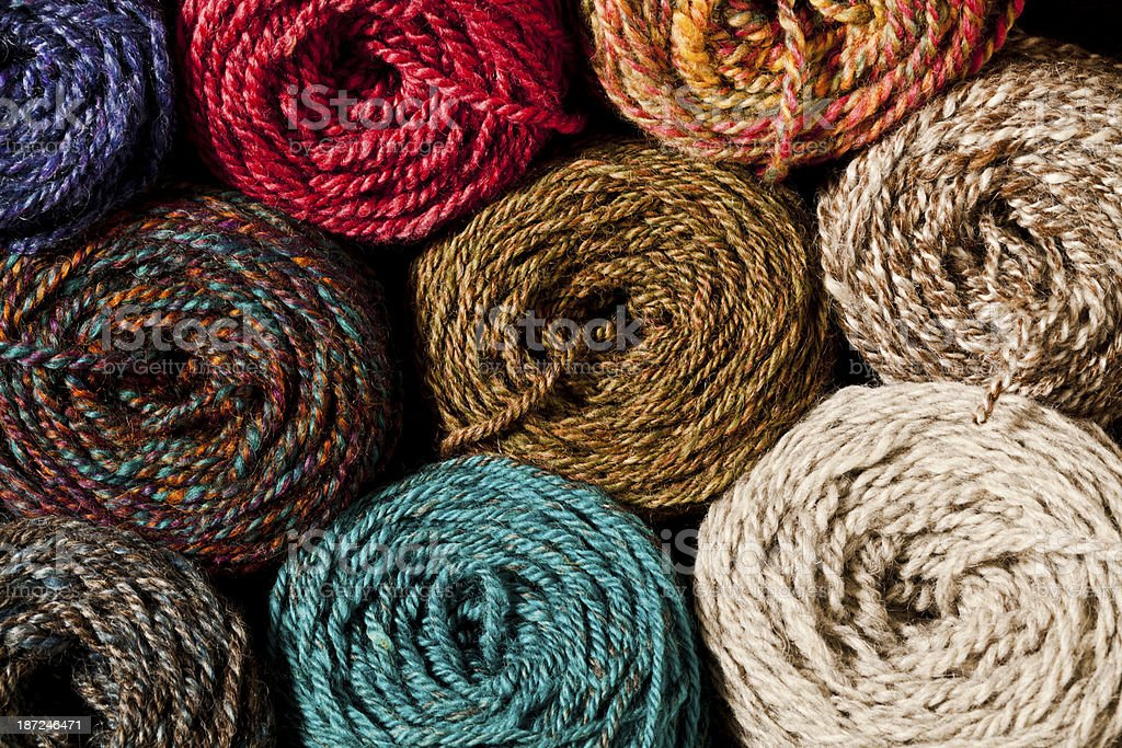 Collection - colorful Balls of yarn. stock photo