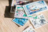 Collection de timbres poste.