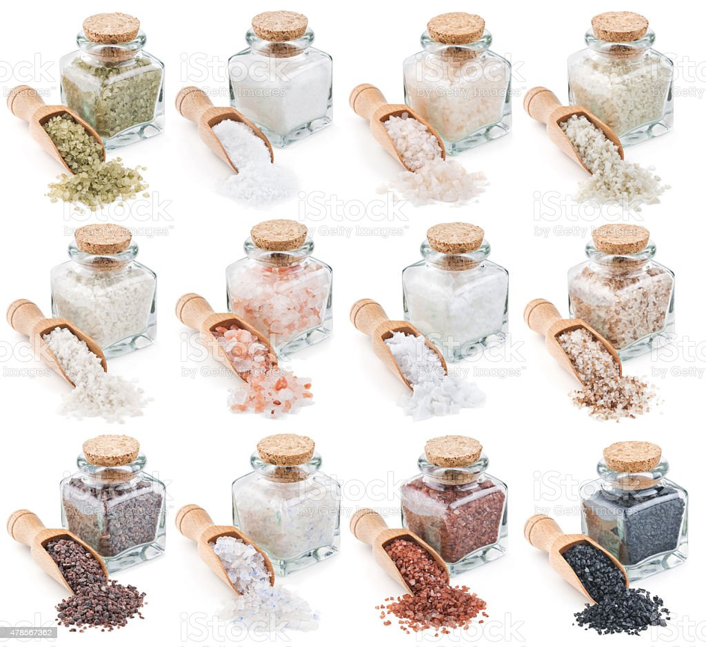 collection different types of salt isolated on white stock photo