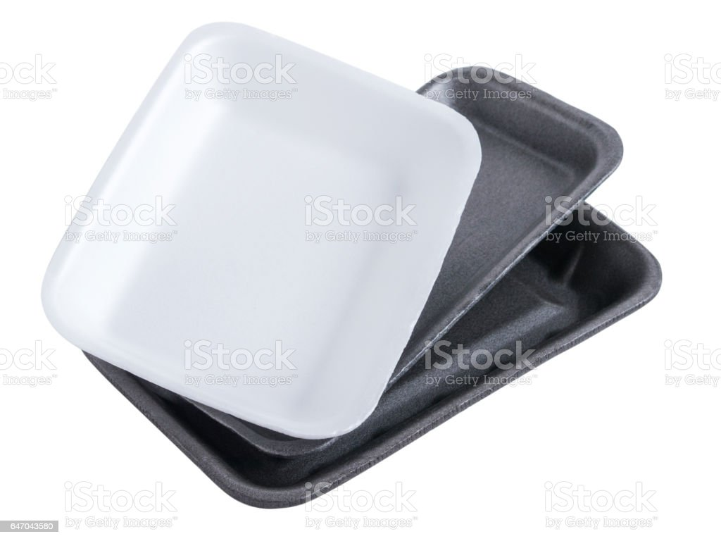 Collection disposable styrofoam empty food tray isolated on white background stock photo