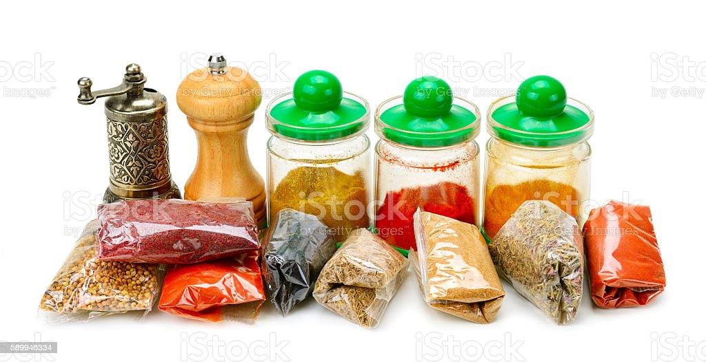 Collection dry spices stock photo