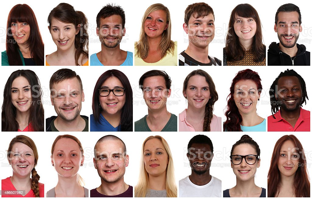 Collection group portrait of multiracial young smiling people stock photo