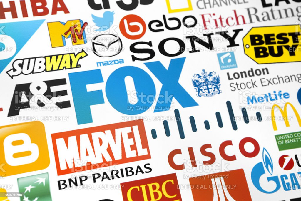 Collection leading world brands logotypes stock photo