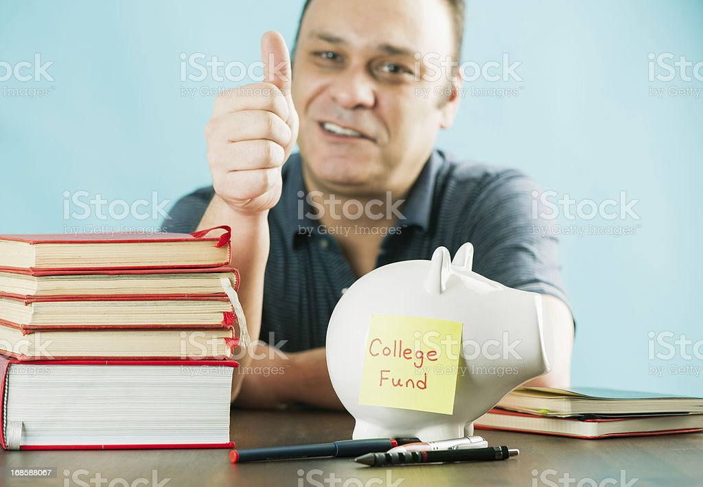 Collection money for his kid college royalty-free stock photo