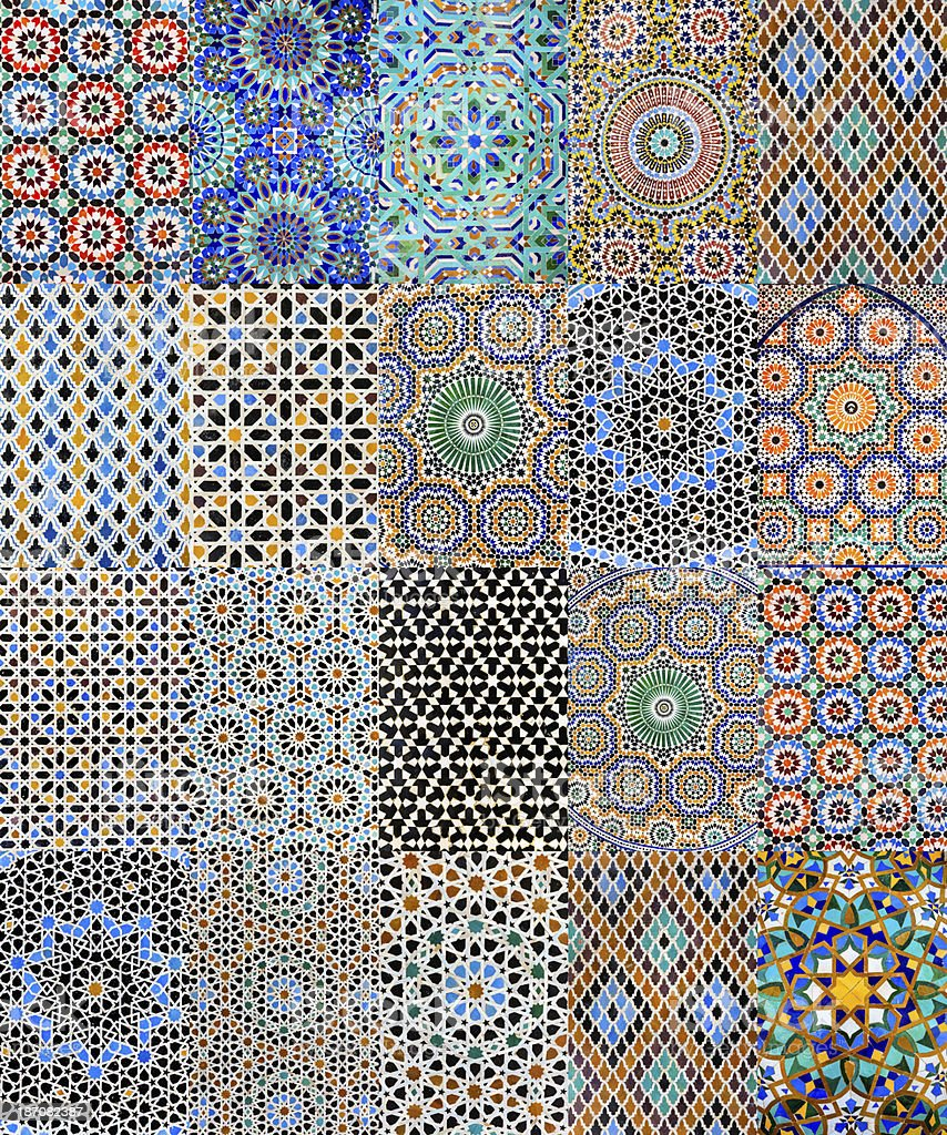 Collection of 20 Arabic mosaics from Moroccan medinas  XXXXL 400MPix royalty-free stock photo