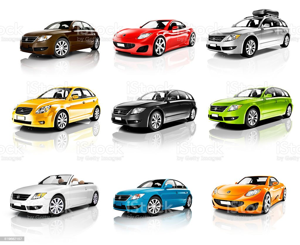 Collection of 3D Cars Isolated stock photo