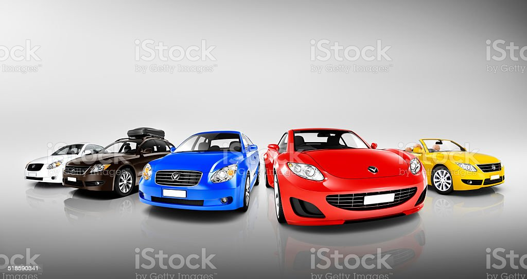 Collection of 3D Colourful Vehicles stock photo