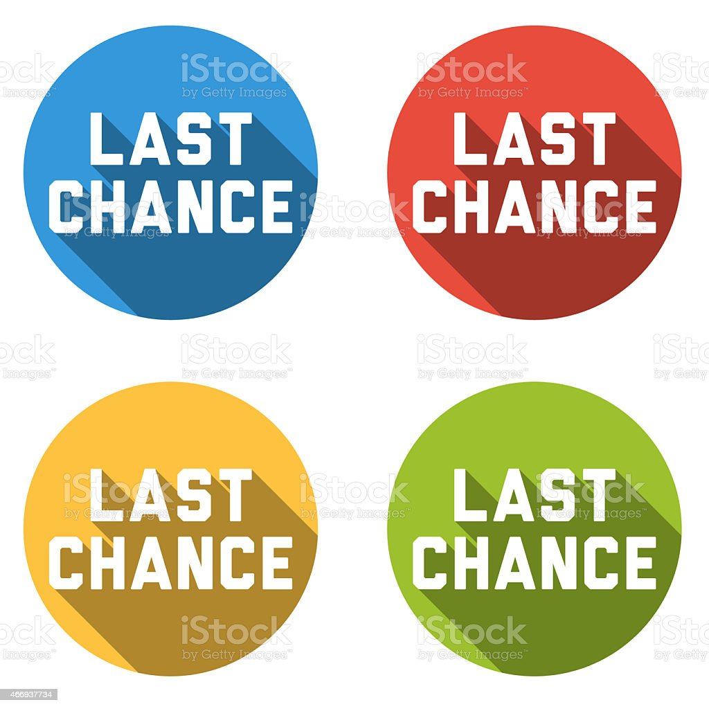 Collection of 4 isolated flat colorful buttons for last chance stock photo