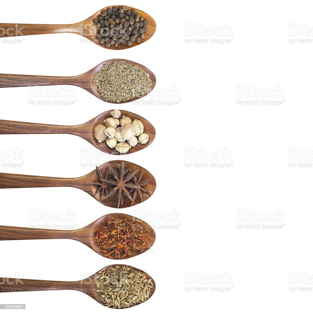 Collection of 6 spices on a wooden spoon royalty-free stock photo