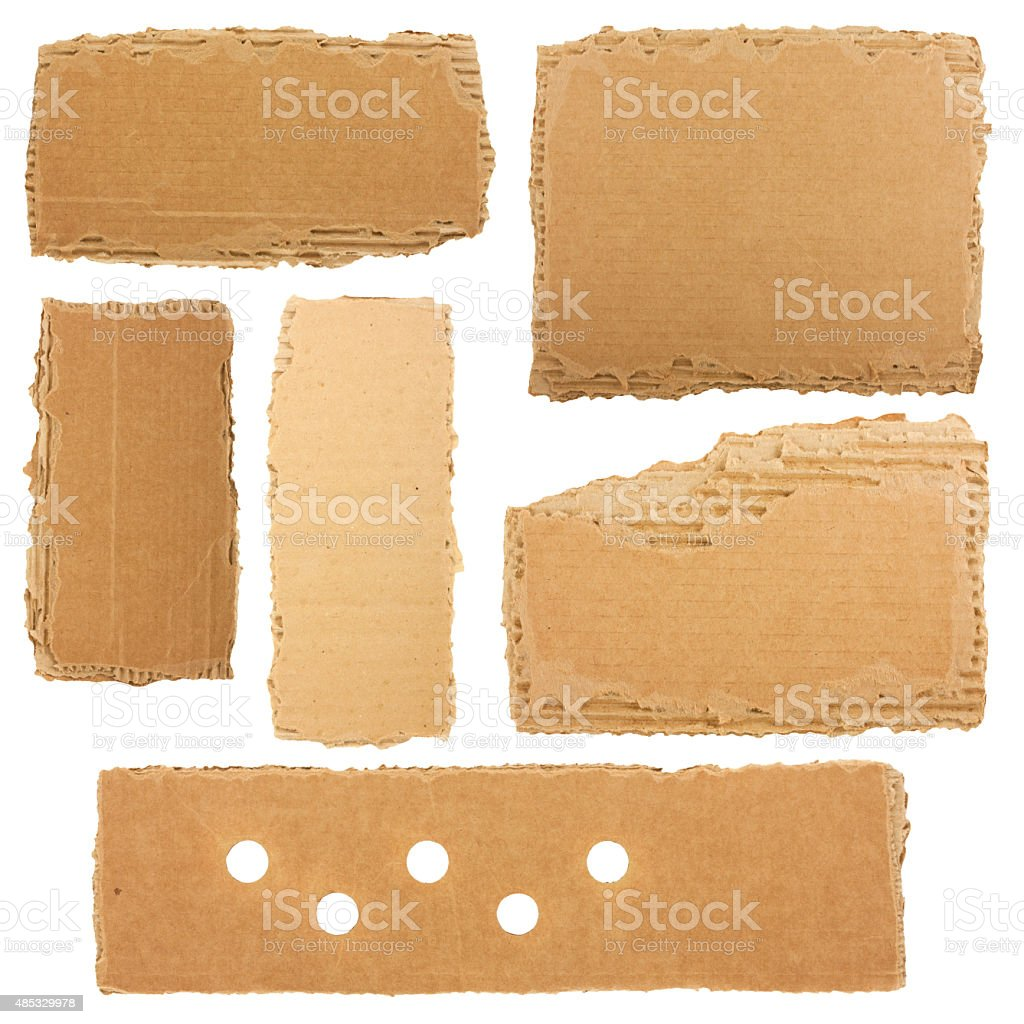 Collection of a cardboard pieces stock photo