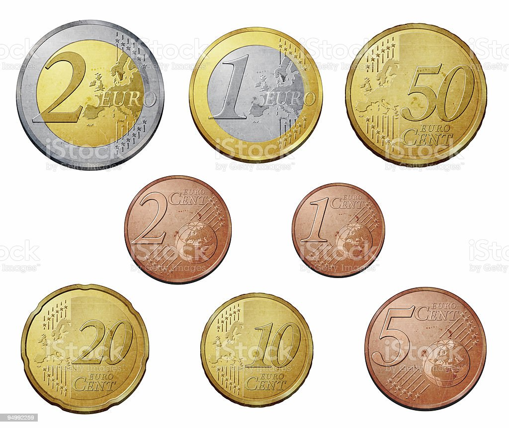 Collection of a complete Euro coins set stock photo