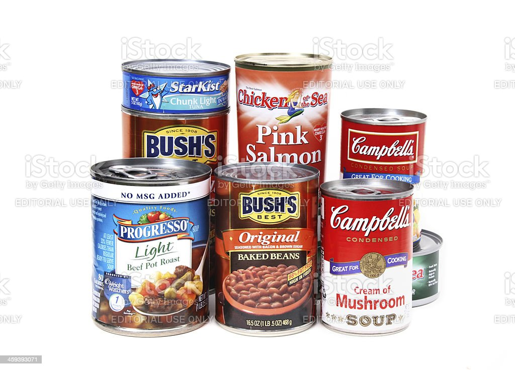 Collection of a variety of common canned goods stock photo