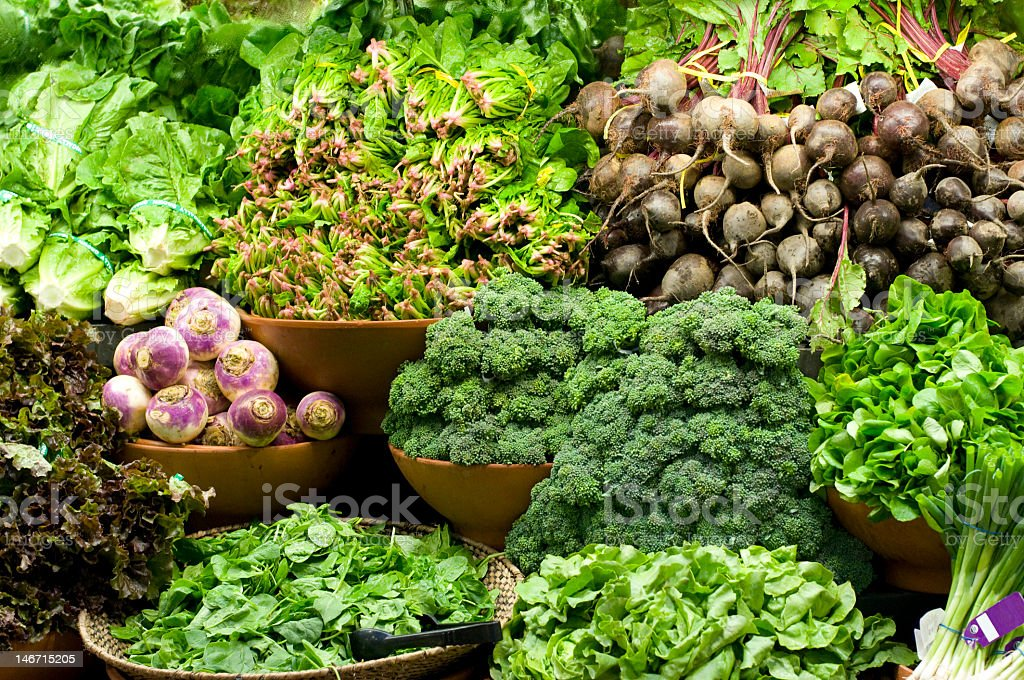 A collection of a variety of green vegetables stock photo