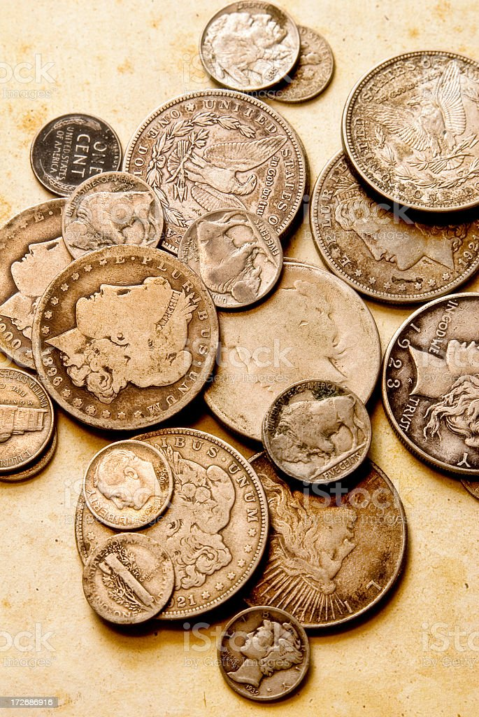 Collection of a variety of old coins  stock photo