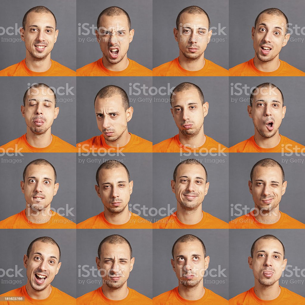 Collection of a young mans expressions royalty-free stock photo