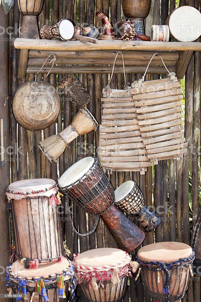 Collection of   African Musical Instruments. stock photo