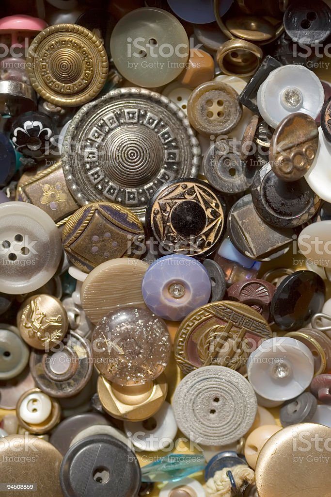 Collection of Antique Buttons royalty-free stock photo