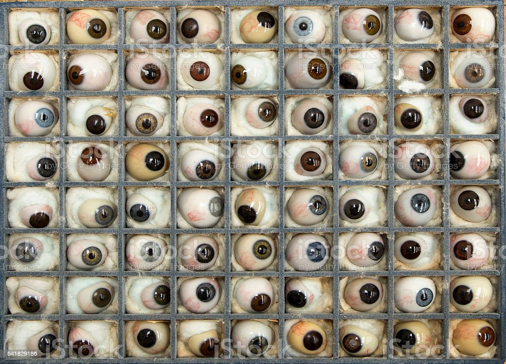 Collection of Antique Glass Eyes stock photo