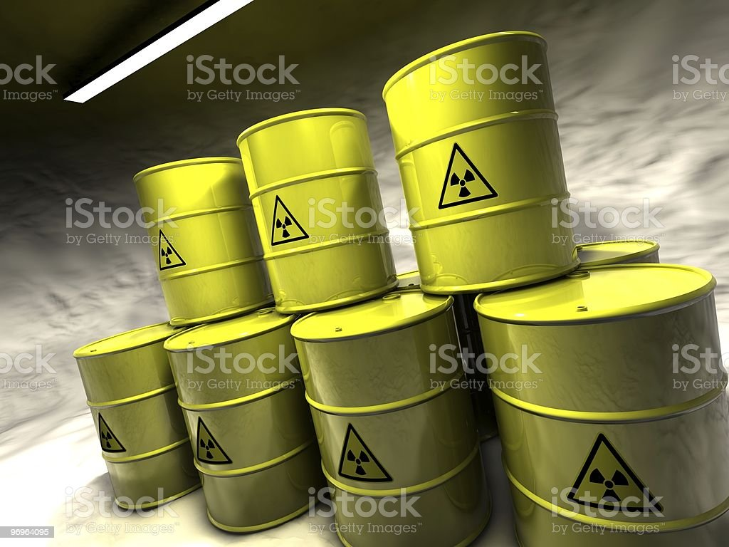 Collection of atomic waste barrels stock photo