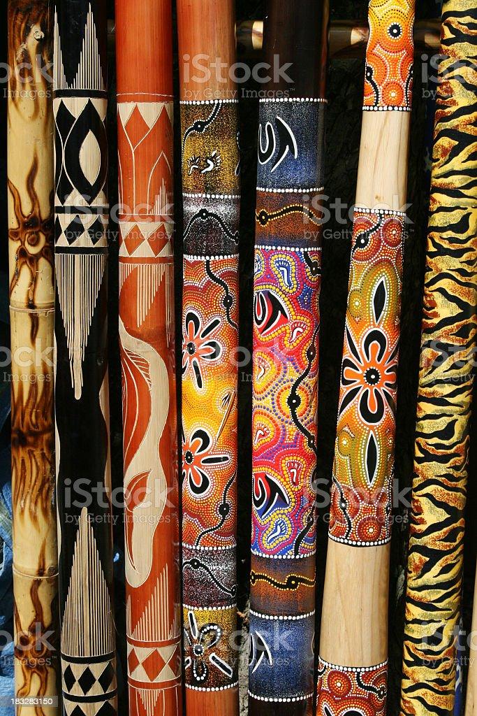 Collection of Australian didgeridoos royalty-free stock photo