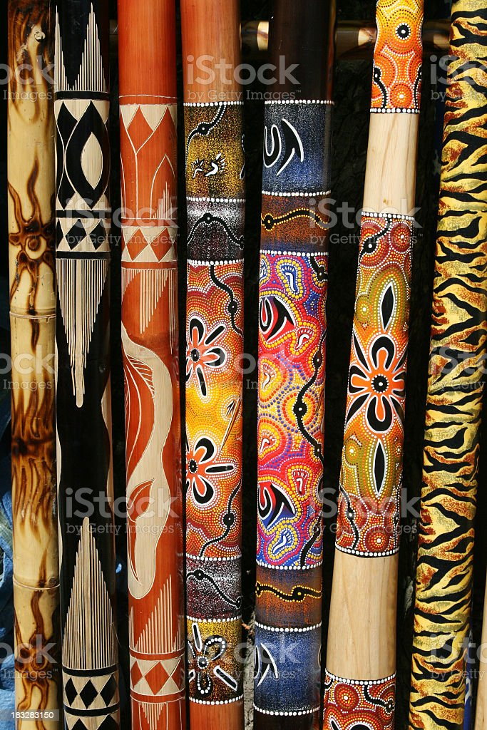 Collection of Australian didgeridoos stock photo