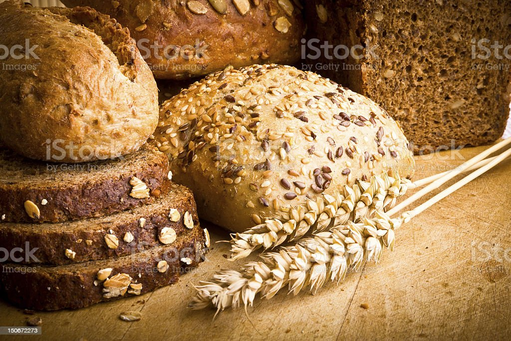 Collection of baked bread stock photo
