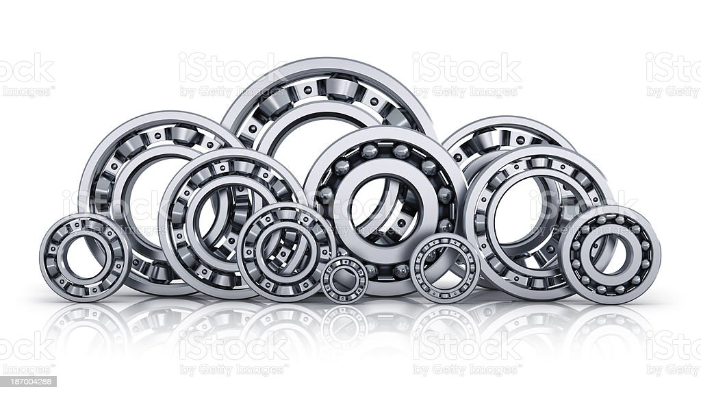 Collection of ball bearings stock photo