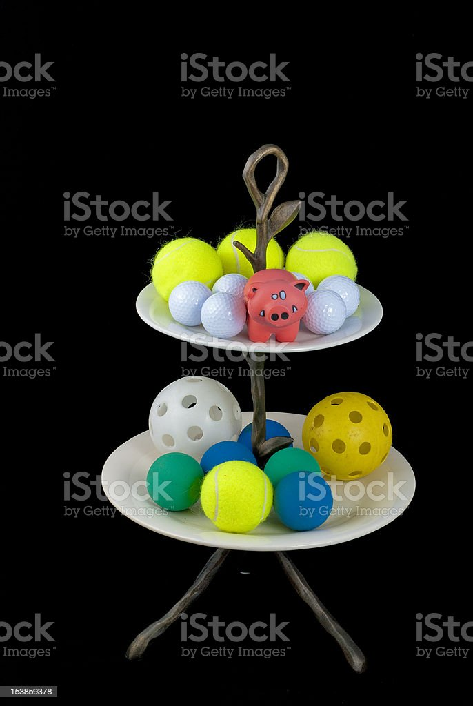 Collection of Balls on a platter royalty-free stock photo