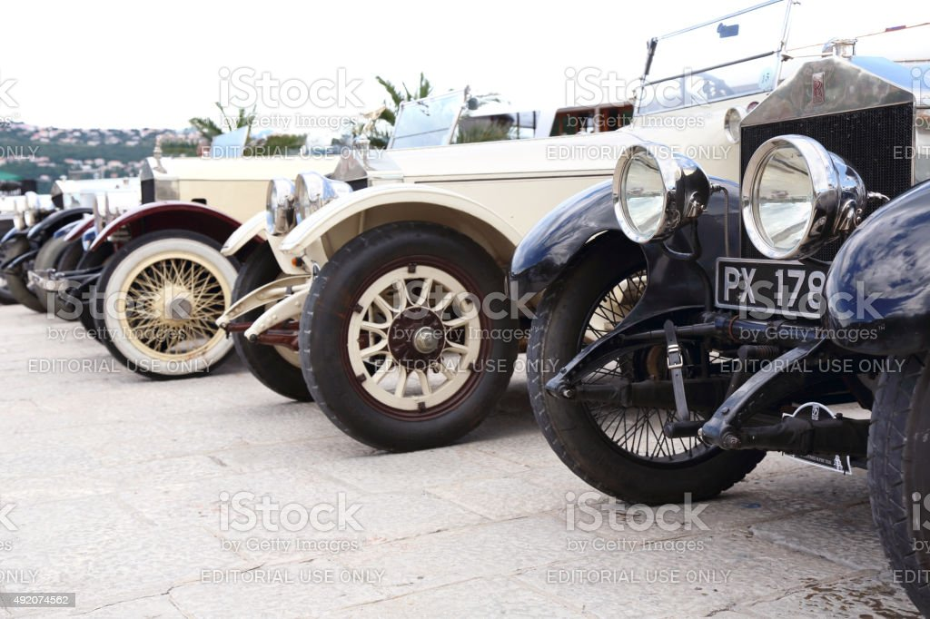 Collection of beautiful Vintage Rolls Royces stock photo