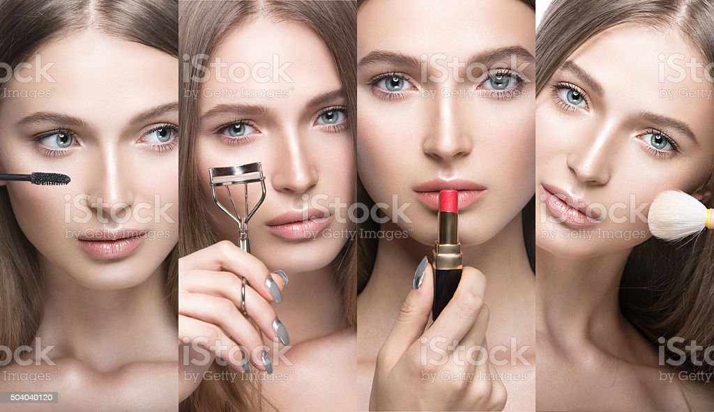 Collection of Beautiful young girl with a light natural make stock photo