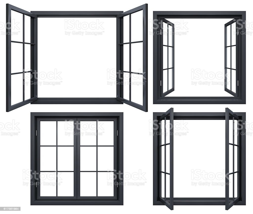Collection of black window frames isolated on white stock photo