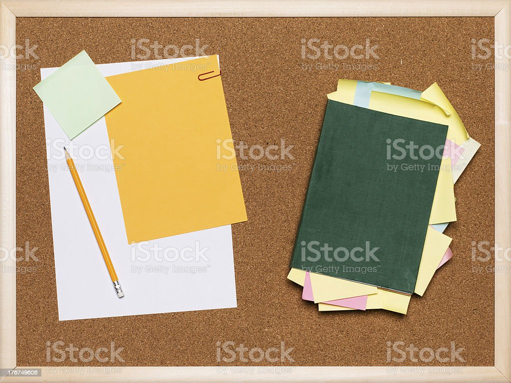Collection of blank papers and stickers royalty-free stock photo